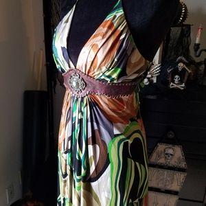 Sky camo urban western floral halter maxi dress